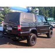 """Кунг кузова """"АВС-Дизайн"""" для УАЗ Pickup 2015-2020 с двойной кабиной. Грузовой (cargo), 1 дверь, черный. Артикул: ABC.UAZ.BR.08B"""