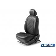 """Чехлы """"Rival"""" Ромб (спинка 40/60) для сидений Kia Rio IV седан 2017-2020, черные. Артикул: SC.2303.2"""