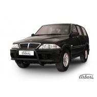 """Защита """"Arbori"""" переднего бампера d57 низкая черная для ТагАЗ Road Partner 2008-2020. Артикул AFZDATARP04B"""