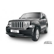 """Защита """"Arbori"""" переднего бампера d76+d57 двойная для Jeep Cherokee KK 2012-2013 Черная. Артикул AFZDAJCH1201B"""