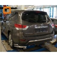 """Защита """"Can Otomotiv"""" заднего бампера уголки двойные d76/42 для Nissan Pathfinder R52 2014-2020. Артикул NIPA.53.4050"""