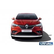"""Защита """"Rival"""" переднего бампера d57+d42 для Renault Arkana 2019-2020. Артикул R.4705.001"""
