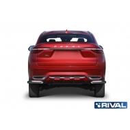 "Защита ""Rival"" заднего бампера d57 уголки для Haval F7 2019-2020. Артикул R.9404.006"