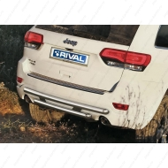 "Защита ""Rival"" заднего бампера d57+d57 для Jeep Grand Cherokee WK2 2013-2020. Артикул R.2705.006"