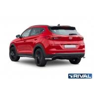 """Защита """"Rival"""" заднего бампера d42 уголки для Kia Sportage IV (в том числе GT-Line) 2018-2020. Артикул R.2311.010"""