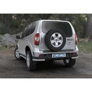 "Защита ""Rival"" заднего бампера d57 уголки для Chevrolet Niva I 2009-2020. Артикул R.1004.012"