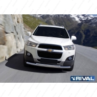 "Защита ""Rival"" переднего бампера d57+d42 для Chevrolet Captiva I 2012-2013. Артикул R.1005.002"