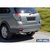 "Защита ""Rival"" заднего бампера d57+d42 для Chevrolet Captiva I 2012-2013. Артикул R.1005.005"