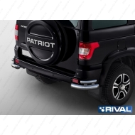 "Защита ""Rival"" заднего бампера d76+d42 уголки для Uaz Patriot I 2014-2016 2016-2020. Артикул R.6302.010"