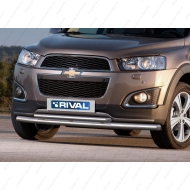 "Защита ""Rival"" переднего бампера d57+d42 для Chevrolet Captiva I 2013-2016. Артикул R.1006.002"