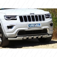 "Защита ""Rival"" переднего бампера d76+d57 с профильной защитой картера для Jeep Grand Cherokee WK2 2013-2020. Артикул R.2705.001"
