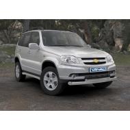 """Защита """"Rival"""" переднего бампера d76+d57 для Chevrolet Niva I 2009-2020. Артикул R.1004.002"""