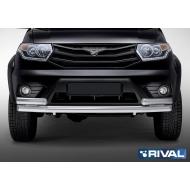 """Защита """"Rival"""" переднего бампера d76+75x42 овал для Uaz Patriot I 2014-2016 2016-2020. Артикул R.6302.005"""