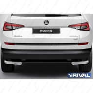 """Защита """"Rival"""" заднего бампера d57 уголки для Skoda Kodiaq I 2017-2020. Артикул R.5101.005"""