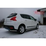 """Защита """"Союз-96"""" заднего бампера d42 (уголки одинарные) для Peugeot 3008 2010-2020. Артикул PG08.76.0890"""