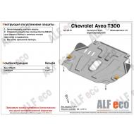"""Защита алюминиевая """"Alfeco"""" для картера и КПП Chevrolet Aveo II T300 2012-2020. Артикул: ALF.03.15 AL4"""