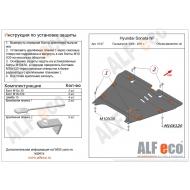 """Защита алюминиевая """"Alfeco"""" для картера и КПП Hyundai Grandeur IV 2006-2011. Артикул: ALF.10.07 AL 4"""