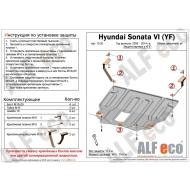 """Защита алюминиевая """"Alfeco"""" для картера и КПП Hyundai Grandeur V 2011-2016. Артикул: ALF.10.20 AL4"""