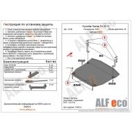 """Защита """"Alfeco"""" для картера и КПП Hyundai Santa Fe III 2012-2017. Артикул: ALF.10.30st"""