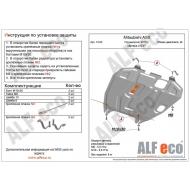 """Защита """"Alfeco"""" для картера и КПП Mitsubishi Outlander XL 2006-2012. Артикул: ALF.14.02st"""