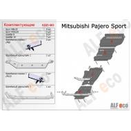 """Защита алюминиевая """"Alfeco"""" для днища (комплект) Mitsubishi L200 IV 2006-2015. Артикул: ALF.14.08-14.09 ALk"""