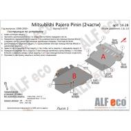 "Защита ""Alfeco"" для картера и КПП Mitsubish Pajero Pinin 1998-2007. Артикул: ALF.14.28st"