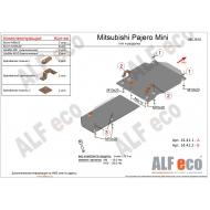 """Защита алюминиевая """"Alfeco"""" для КПП и раздатки Mitsubish Pajero Mini 1998-2012. Артикул: ALF.14.41 AL5"""