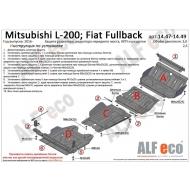"""Защита """"Alfeco"""" для РК Mitsubishi L200 V facelift 2019-2020. Артикул: ALF.14.49st"""
