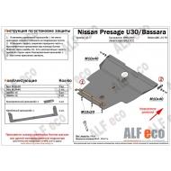 """Защита """"Alfeco"""" для картера и КПП Nissan Bassara 1999-2003. Артикул: ALF.15.77st"""