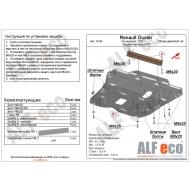 "Защита ""Alfeco"" для картера и КПП Renault Duster 2011-2020. Артикул: ALF.18.09st"