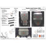 """Защита алюминиевая """"Alfeco"""" для радиатора, картера и КПП Lexus LX 570 2015-2020. Артикул: ALF.24.95,96,97AL5"""