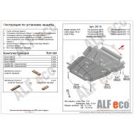"Защита алюминиевая ""Alfeco"" для картера и КПП Nissan Almera G15 2012-2020. Артикул: ALF.28.15 AL4"