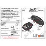 "Защита алюминиевая ""Alfeco"" для картера и радиатора (2 части) Audi Q7 I 2006-2009. Артикул: ALF.30.07 AL5"