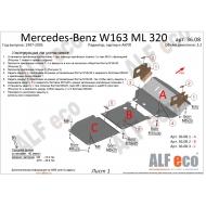 "Защита алюминиевая ""Alfeco"" для радиатора, картера и АКПП Mercedes-Benz M-Class (ML320) W163 1997-2005. Артикул: ALF.36.08 AL4"