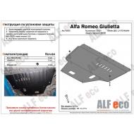 """Защита """"Alfeco"""" для картера и МКПП Alfa Romeo Giulietta III 2010-2020. Артикул: ALF.42.02st"""