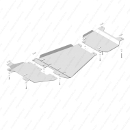 "Защита алюминиевая ""Motodor"" для двигателя, переднего дифференциала, КПП, раздаточной коробки Ford F-150 Raptor 2017-2020. Артикул: 380702"
