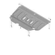 Защита АвтоСтандарт для картера и КПП Peugeot 207 МКПП 2006-2012. Артикул: 51609