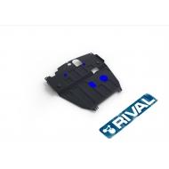 """Защита """"Rival"""" для картера и КПП (увеличенная) Chevrolet Captiva I 2012-2015 (со штатной поперечной балкой). Артикул: 111.4208.1"""