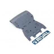 """Защита алюминиевая """"Rival"""" для картера и КПП (серая) Porsche Macan 2014-2020. Артикул: 333.4605.1"""