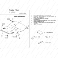 """Защита """"Шериф"""" для картера и КПП Mazda Tribute I EP 2000-2007. Артикул: 12.0635"""