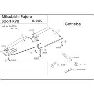 """Защита алюминиевая """"Шериф"""" для КПП Mitsubishi Montero Sport I 1998-2008. Артикул: 14.0722"""