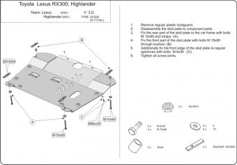 "Защита ""Шериф"" для картера и КПП Lexus RX 300, 330, 350 II 2003-2009. Артикул: 24.0505"